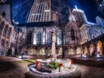 church courtyard in chicago hdr