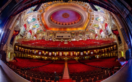 magnificent ornate theater hdr - fisheye, dome, seats, hdr, ornate, theater, ceiling