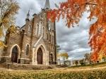 british church in autumn hdr