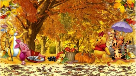 Winnie the Pooh Fall - Other & Nature Background ...