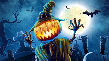 Angry Pumpkin - witch, bats, haunted, jack-o-lantern, graves, pumpkin, full moon, scary, Halloween, Firefox Persona theme, night
