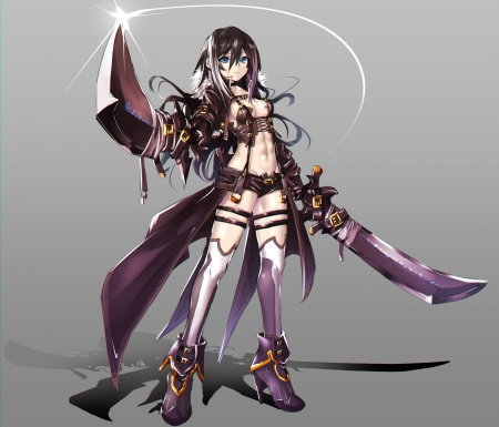 Rude Fighter - beautiful, woman, sweet, shorts, grey, beauty, anime girl, long hair, black hair, art, swords, female, lovely, black, aime, weapons, girl, purple, lady