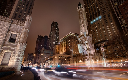 chicago at night in long exposure - city, traffic, long exposure, street, might, lights