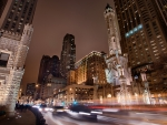 chicago at night in long exposure