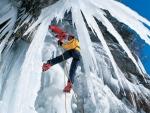 climbing an ice mountain