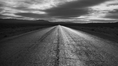asphalt road through desert in monochrome - asphalt, desert, monochrome, road