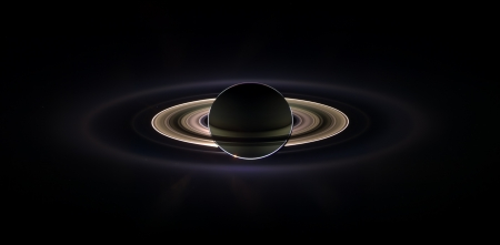 Saturn Eclipse - Black, Sun, Space, yellow, Rings, Eclipse, saturn