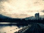 dark waterfront view