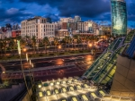 looking out of the convention center in san diego hdr