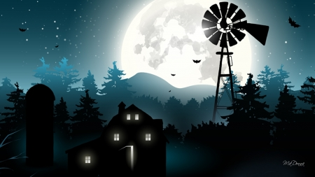 Country Halloween Evening - windmill, bats, silo, country, trees, barn, farm, creepy, full moon, Halloween, night