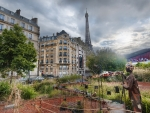 eifel tower from a city garden hdr