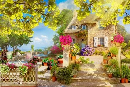 Coastal village - house, view, cottage, beautiful, lake, paradise, summer, flowers, village, coast