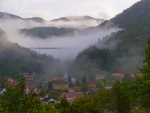 town of feda norway in a foggy valley