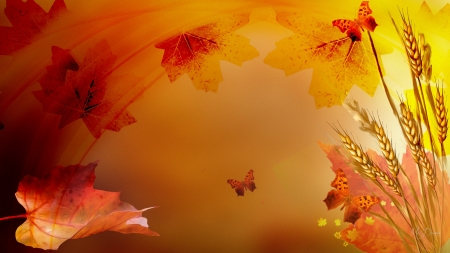 Layers of Autumn - fall, autumn, leaves, transparent, orange, wheat, butterflies