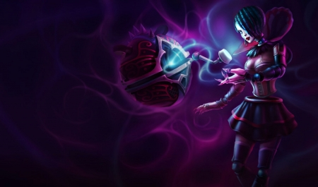 Orianna - orianna, fantasy, purple, girl, game, black, league of legends, blue