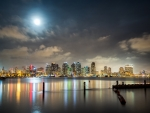 full moon over san diego hdr