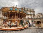 lovely carousel in montpellier france hdr