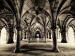 glasgow university cloisters arched hallways hdr