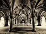 glasgow university cloisters arched hallways hdr