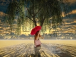 girl with an umbrella under a willow tree on a rainy day