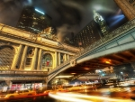 grand central station on a rainy night hdr