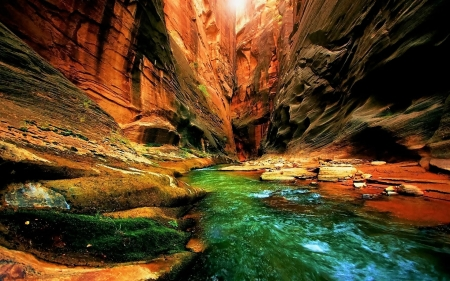Canyon - red, stunning, water, rock, aqua, nature, canyons
