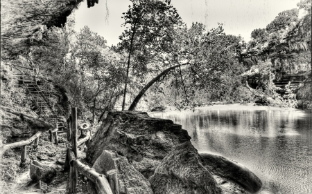 wonderful hamilton pool in texas hdr - rocks, grayscale, steps, pool, trees, hdr, nature
