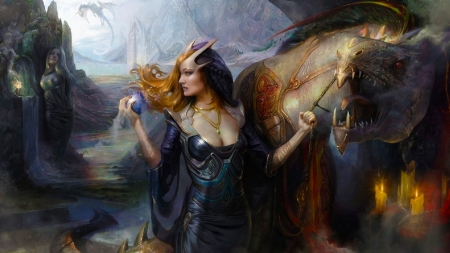 The queen and her dragon - pretty, art, female, beautiful, woman, dragon, potion, fantasy, girl, digital