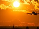 Plane takes off the Sun