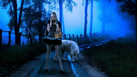 Blonde Girl with Wolf - girl, model, scary, blonde, story, road