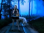 Blonde Girl with Wolf