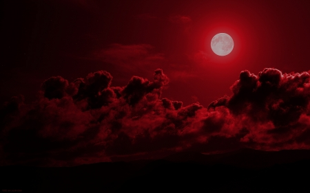 Blood Moon - Red, Moon, Sky, Clouds