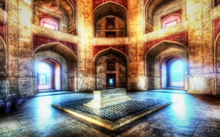 humayuns tomb in delhi india hdr - tomb, arches, temple, hdr, marble