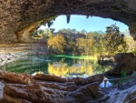 inside the grotto in hamilton pool hdr