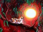 Cat in Eucalyptus Boughs