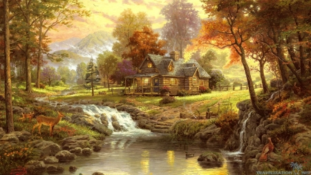 Village in Autumn - forest, fall, autumn, fawn, warm, seasons, baby animals, waterfalls, water, nature