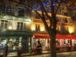 cafe in france at night hdr