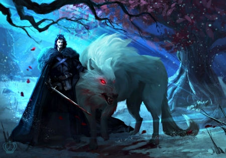 Lone wolf - art, autumn, luminos, halloween, game of thrones, game, black, man, blood, alexandra vo, fantasy, creature, blue, lone wolf