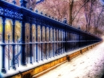 long ornate metal fence in winter hdr