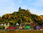 hilltop castle in a town on the rhein