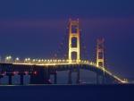 beautiful mackinac bridge in michigan at night