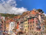 looking up in manarola italy hdr