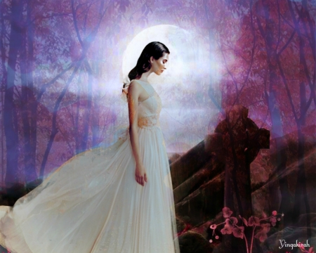 White Lady - goth, art, moon, woman, grave