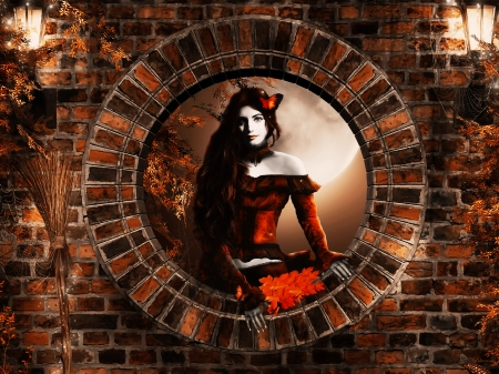 *Beauty of autumn * - lanterns, autumn, hq, wall, fullmoon, lights, rounded window, girl, stone, beauty, evening