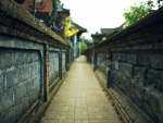 narrow city alley in focus