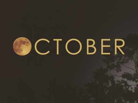 October - month, autumn, moon, nature, october, night