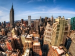 empire state building and nyc in fisheye hdr