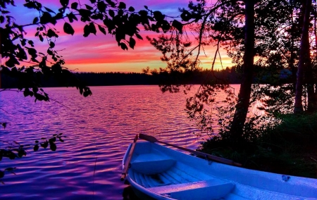 Boat in the lake - sunset, autumn trees, boat, lake