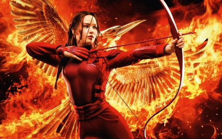 The Hunger Games - Mockingjay - Part 2 - poster, red, part 2, wings, movie, the hunger games, woman, katniss, fire, fantasy, girl, actress, Jennifer Lawrence, archer, mockingjay