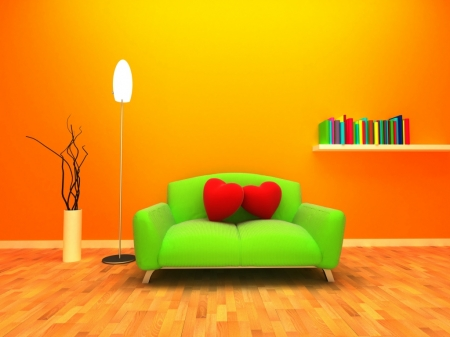 green sofa - orange, red, hearts, couch